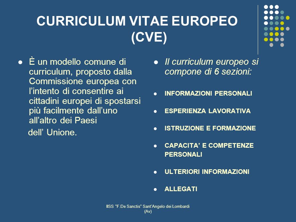 CURRICULUM VITAE EUROPEO (CVE)