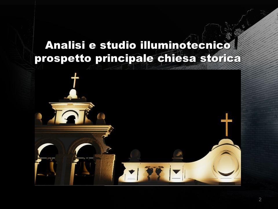 Analisi e studio illuminotecnico prospetto principale chiesa storica