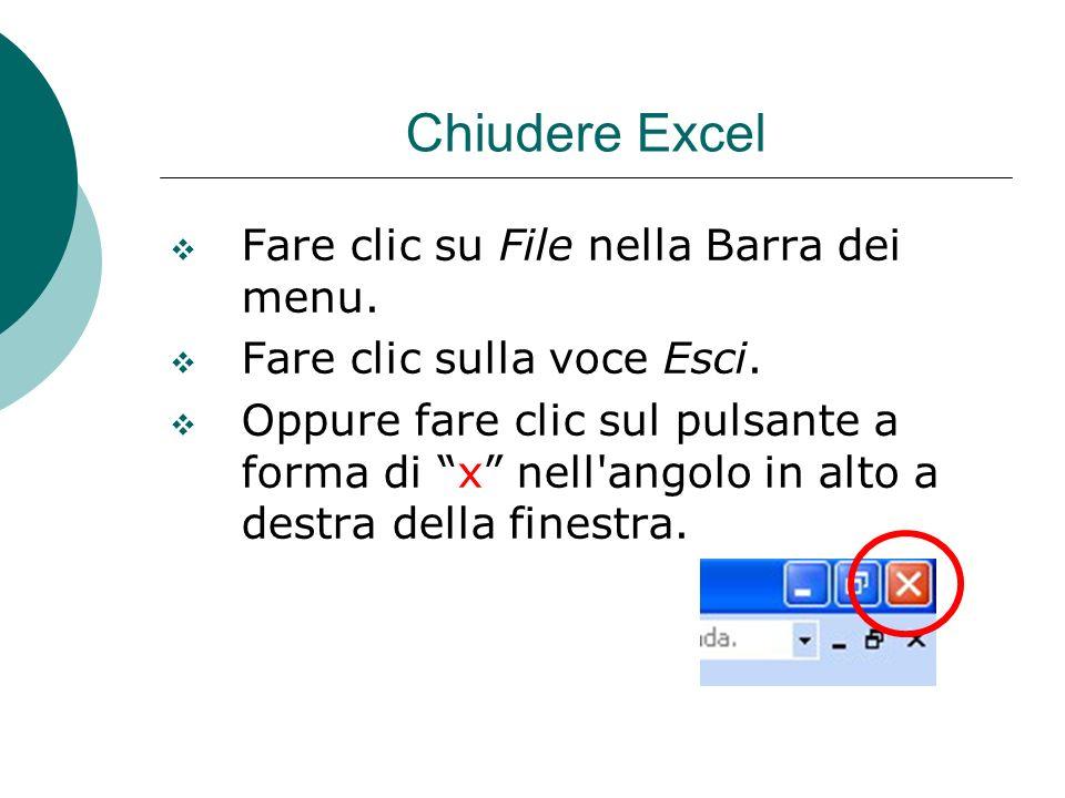 Chiudere Excel Fare clic su File nella Barra dei menu.