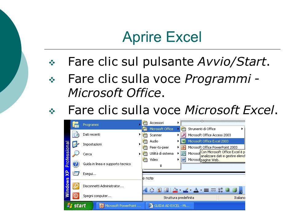Aprire Excel Fare clic sul pulsante Avvio/Start.