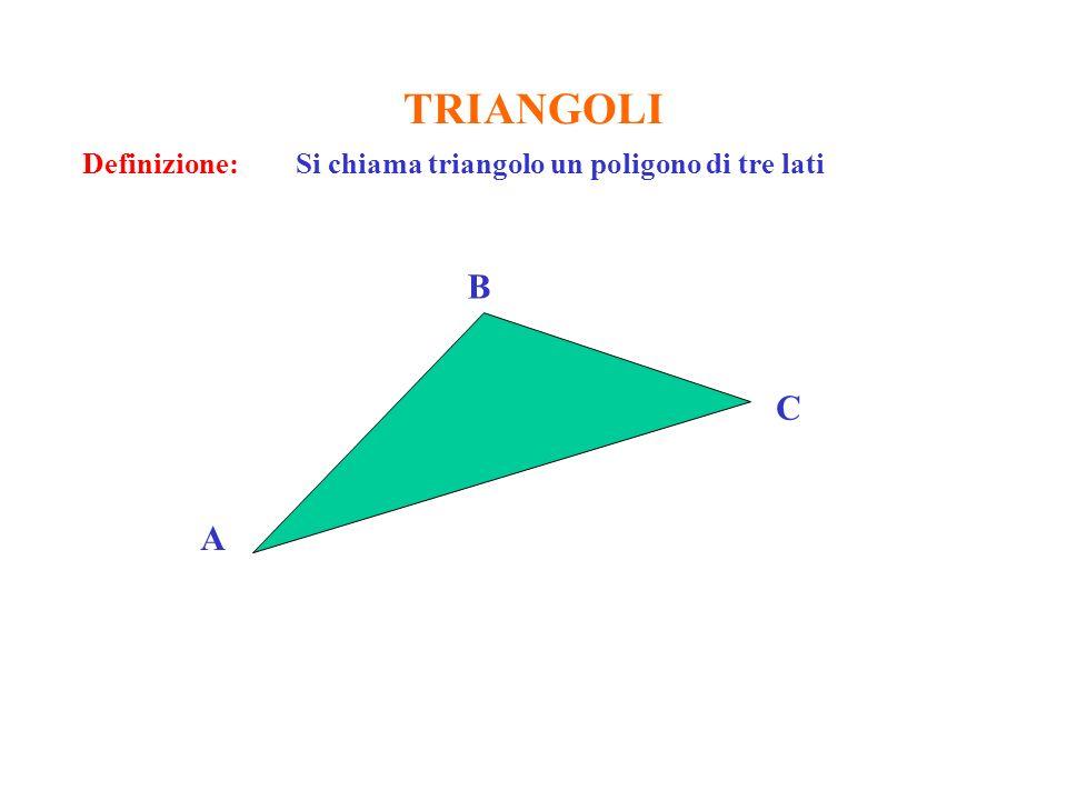 TRIANGOLI Definizione: Si chiama triangolo un poligono di tre lati B C A