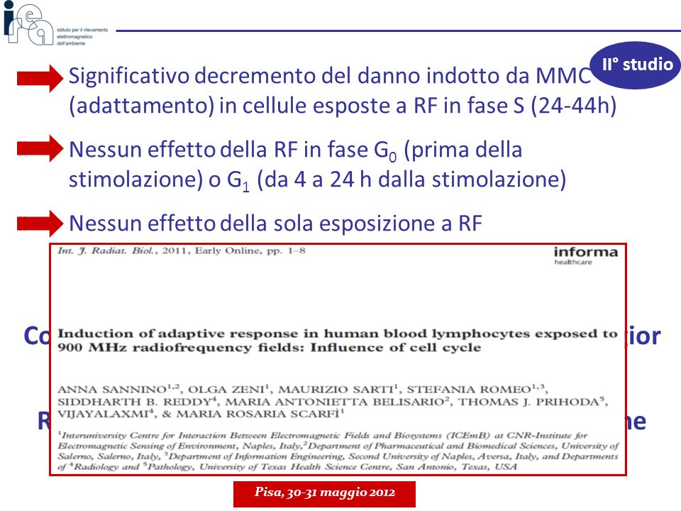 II° studioSignificativo decremento del danno indotto da MMC (adattamento) in cellule esposte a RF in fase S (24-44h)