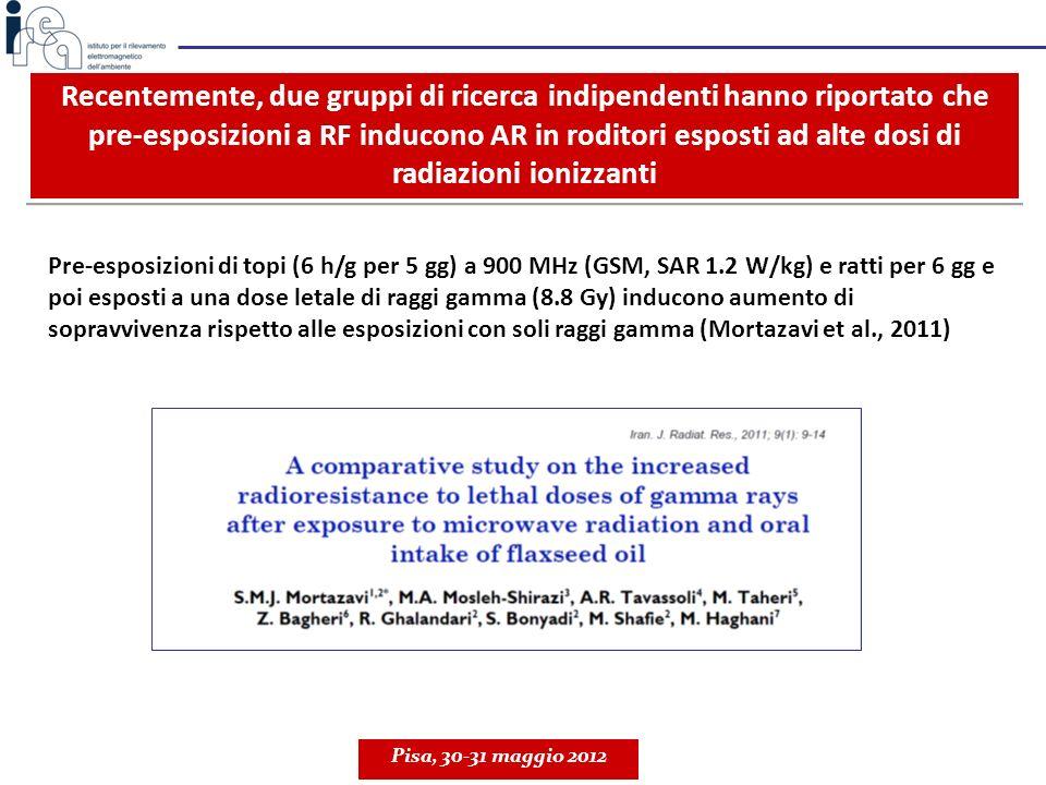 Recentemente, due gruppi di ricerca indipendenti hanno riportato che pre-esposizioni a RF inducono AR in roditori esposti ad alte dosi di radiazioni ionizzanti