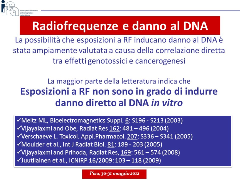 Radiofrequenze e danno al DNA