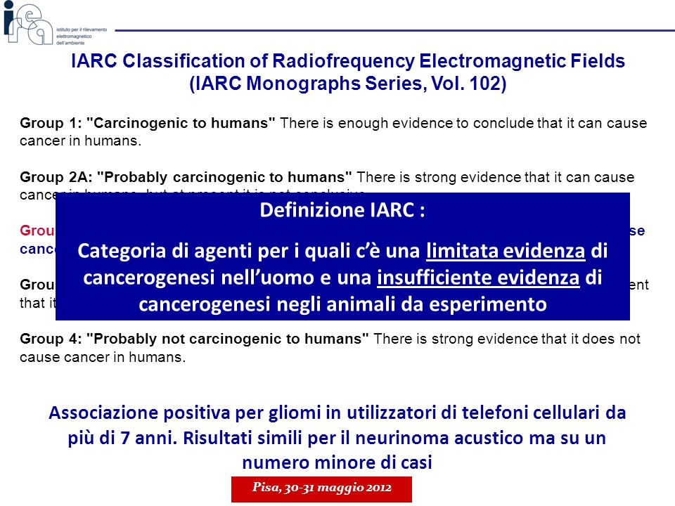 IARC Classification of Radiofrequency Electromagnetic Fields