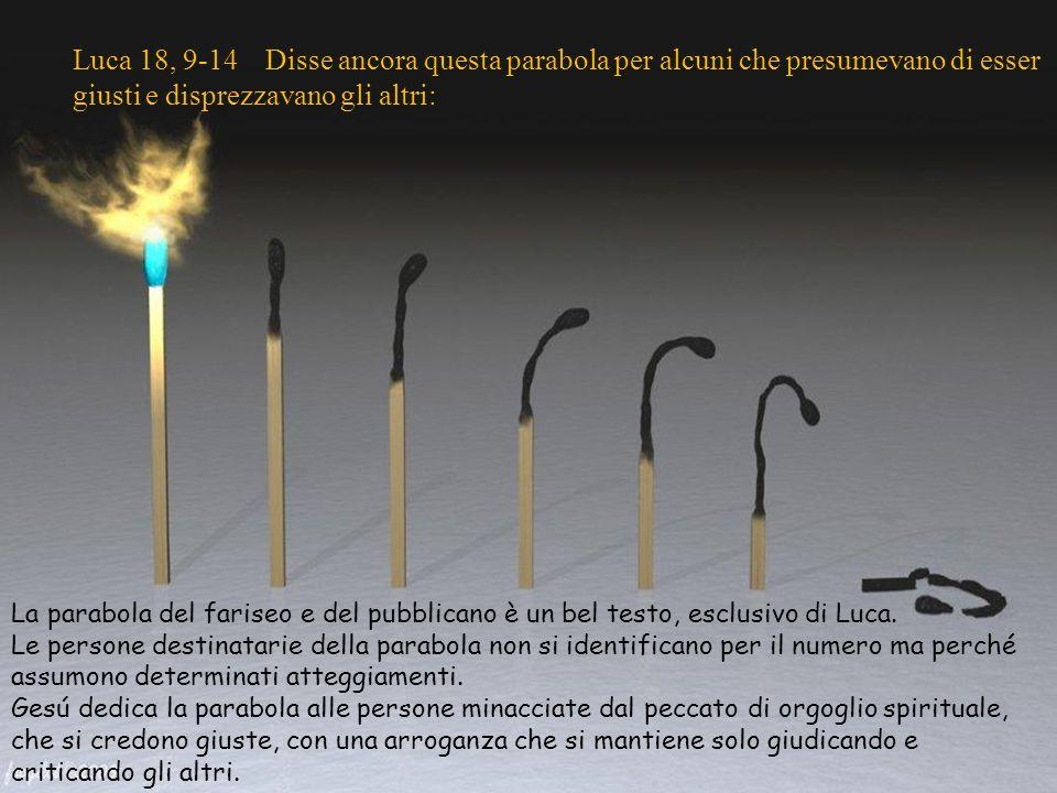 Luca 18, 9-14 Disse ancora questa parabola per alcuni che presumevano di esser giusti e disprezzavano gli altri: