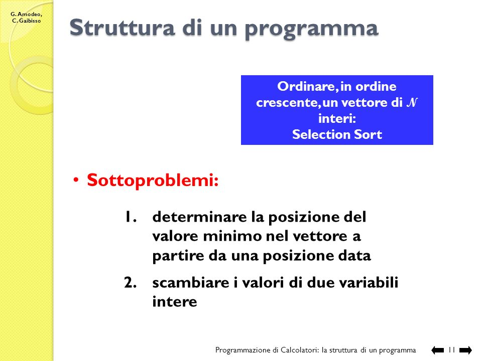 Struttura di un programma