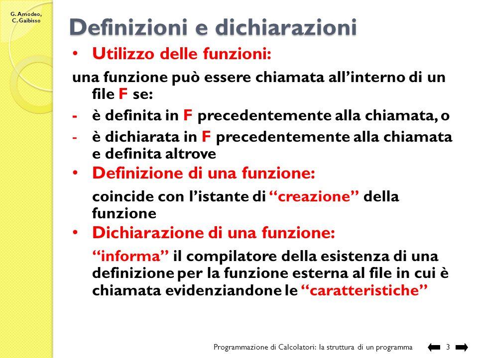 Definizioni e dichiarazioni
