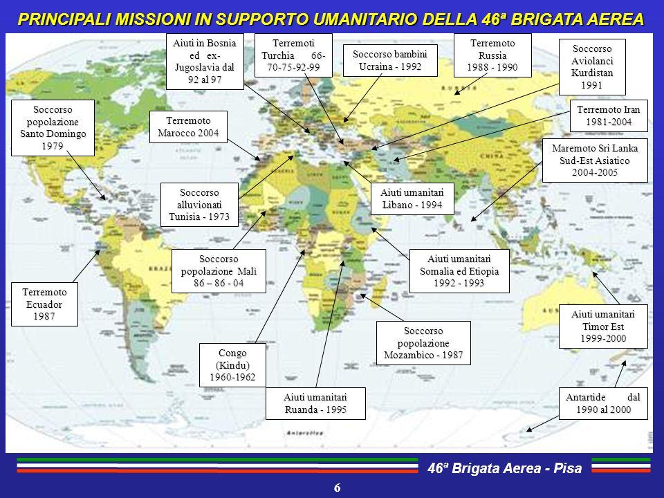 PRINCIPALI MISSIONI IN SUPPORTO UMANITARIO DELLA 46ª BRIGATA AEREA
