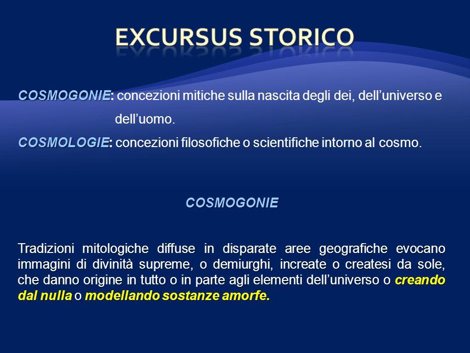 EXCURSUS STORICO COSMOGONIE: concezioni mitiche sulla nascita degli dei, dell'universo e dell'uomo.