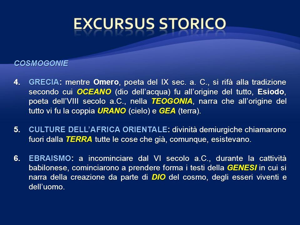 EXCURSUS STORICO COSMOGONIE