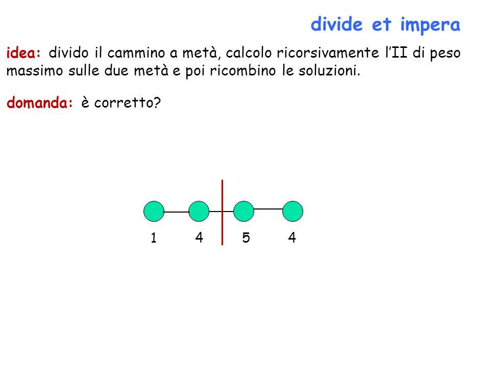 divide et impera idea: divido il cammino a metà, calcolo ricorsivamente l'II di peso massimo sulle due metà e poi ricombino le soluzioni.