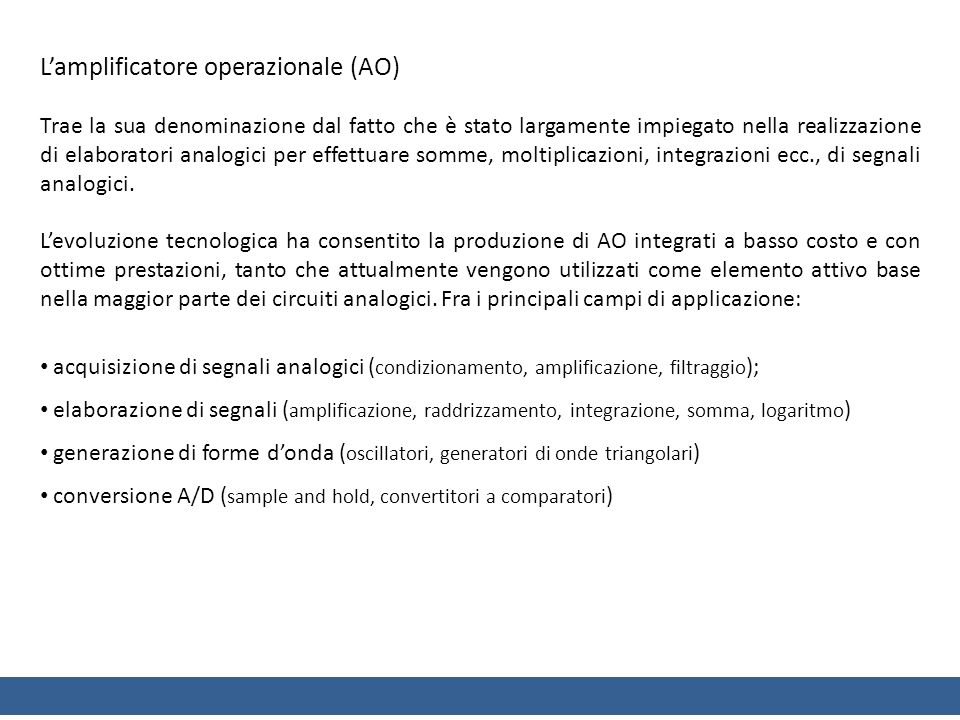 L'amplificatore operazionale (AO)