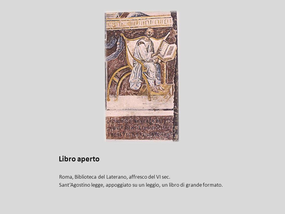 Libro aperto Roma, Biblioteca del Laterano, affresco del VI sec.