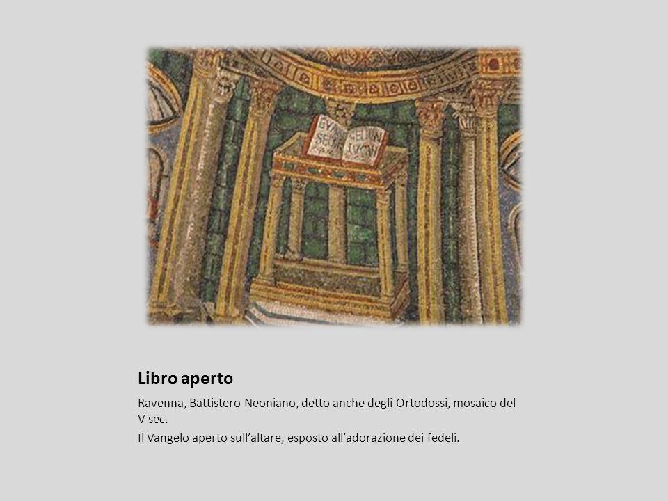 Libro aperto Ravenna, Battistero Neoniano, detto anche degli Ortodossi, mosaico del V sec.