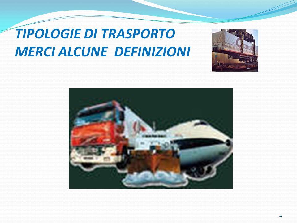 TIPOLOGIE DI TRASPORTO MERCI ALCUNE DEFINIZIONI