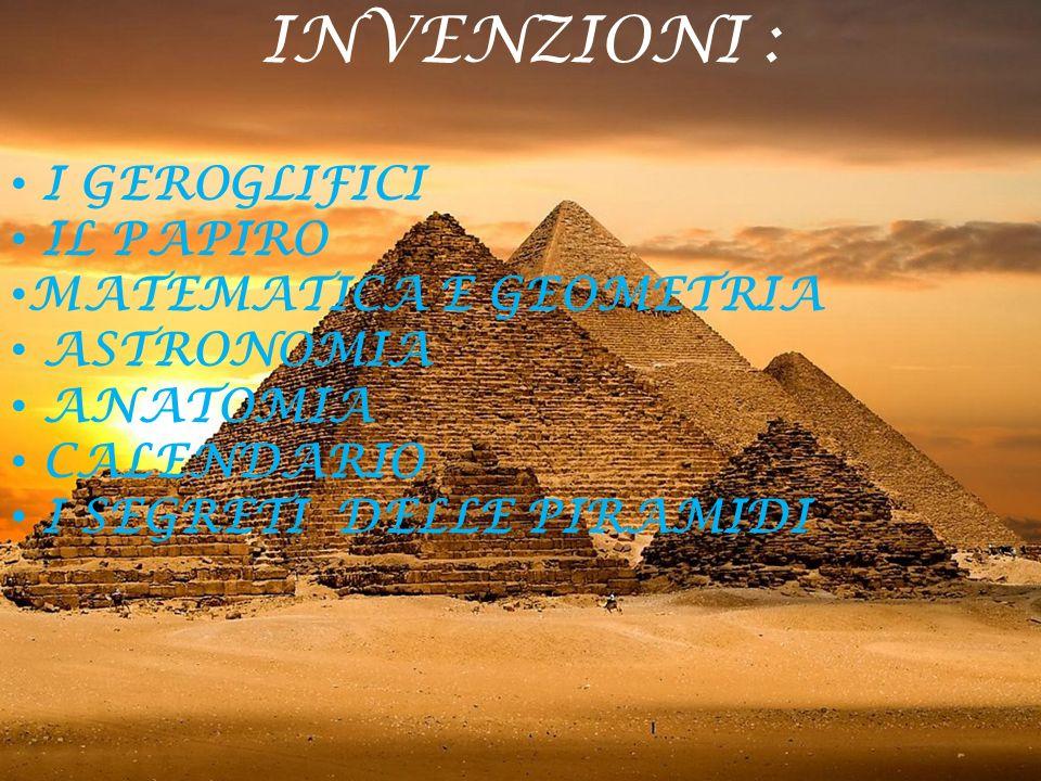 INVENZIONI : I GEROGLIFICI IL PAPIRO MATEMATICA E GEOMETRIA ASTRONOMIA