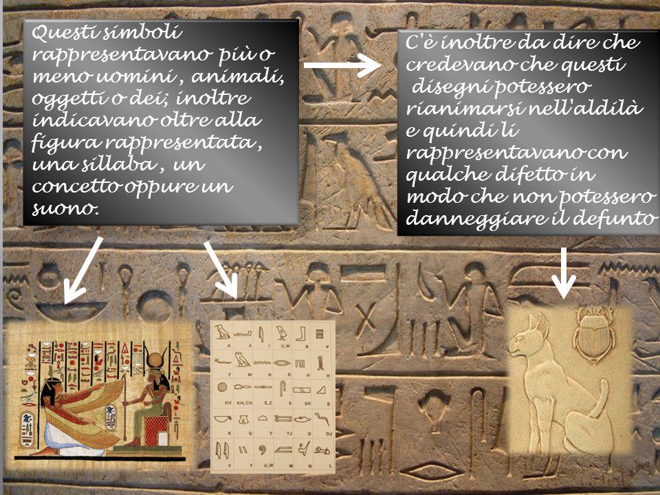 Questi simboli rappresentavano più o meno uomini , animali, oggetti o dei; inoltre indicavano oltre alla figura rappresentata , una sillaba , un