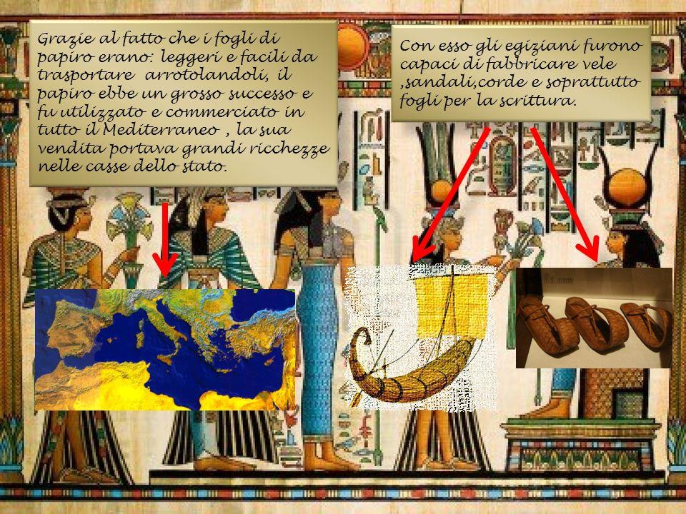 Grazie al fatto che i fogli di papiro erano: leggeri e facili da trasportare arrotolandoli, il papiro ebbe un grosso successo e fu utilizzato e commerciato in tutto il Mediterraneo , la sua vendita portava grandi ricchezze nelle casse dello stato.