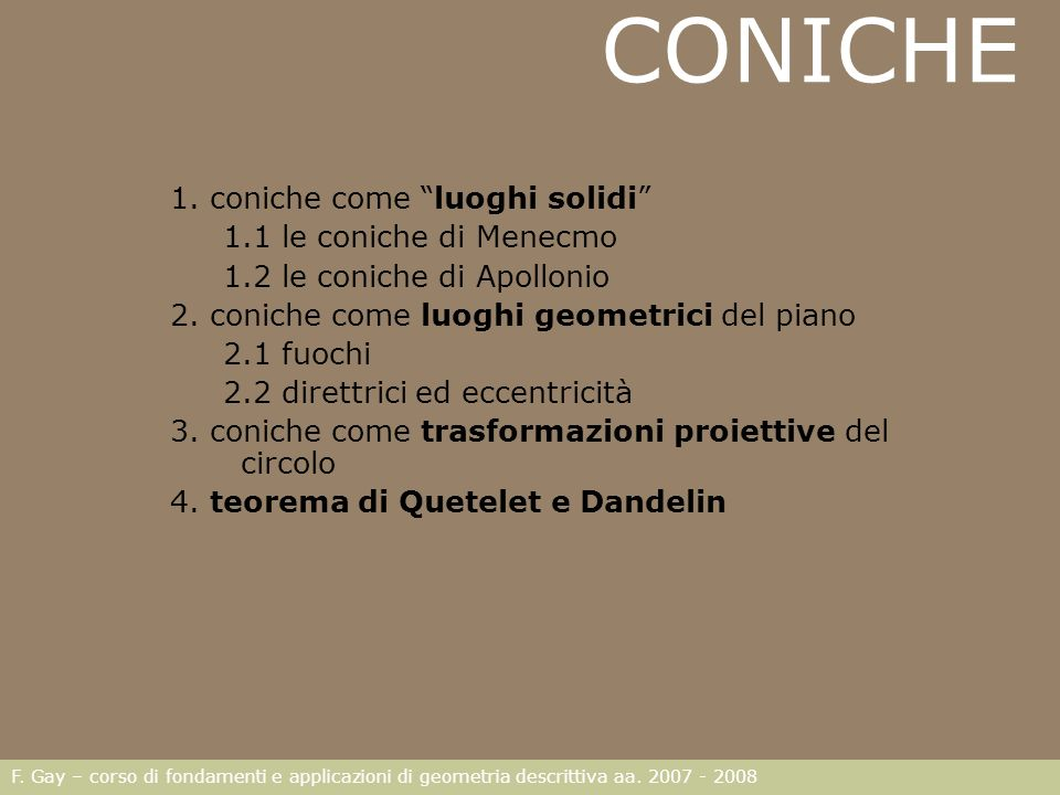 CONICHE 1. coniche come luoghi solidi 1.1 le coniche di Menecmo