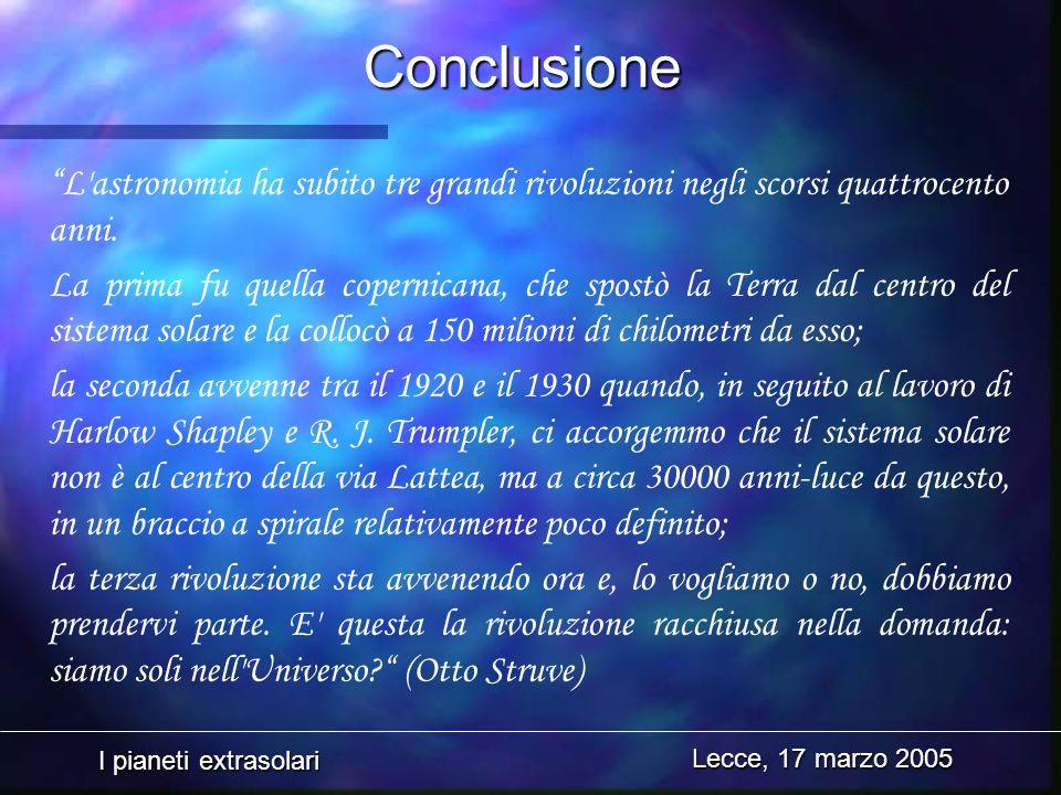 Conclusione L astronomia ha subito tre grandi rivoluzioni negli scorsi quattrocento anni.