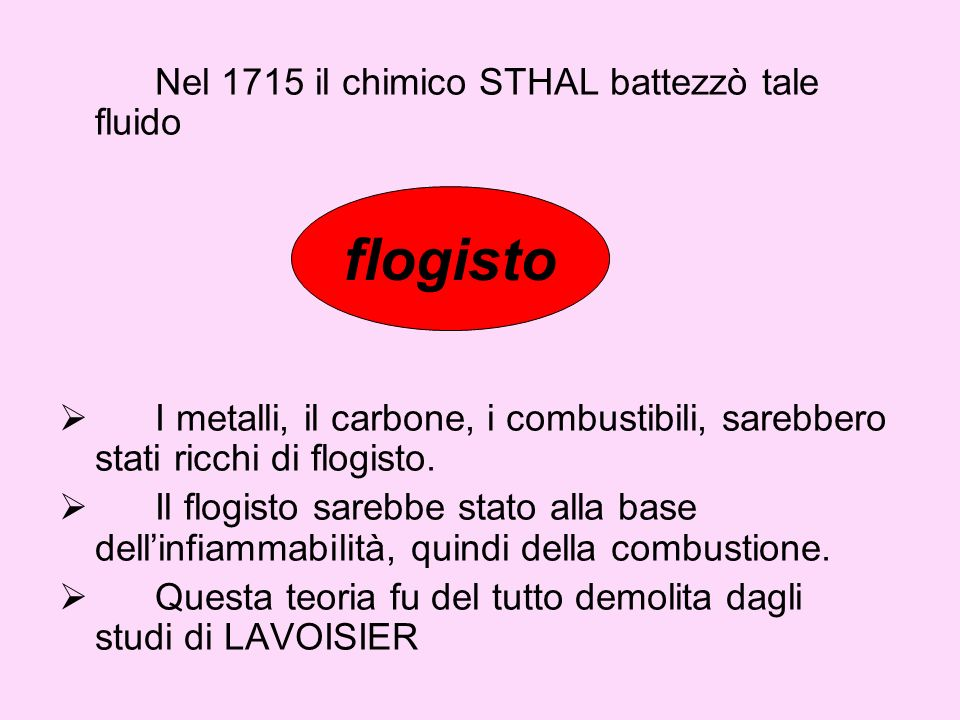 flogisto Nel 1715 il chimico STHAL battezzò tale fluido