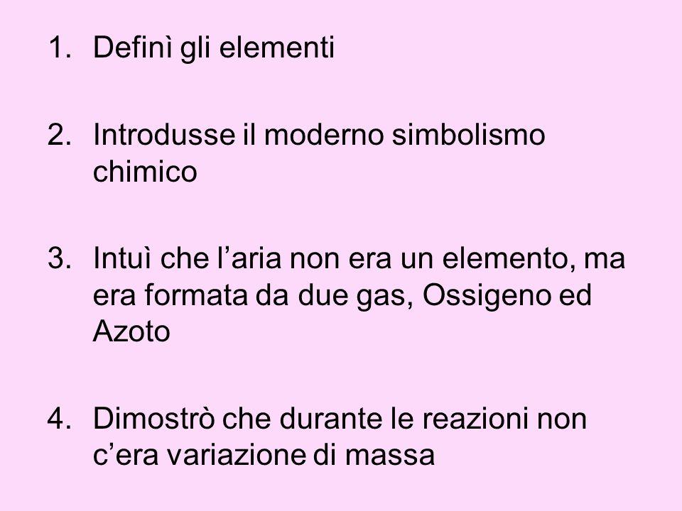 Definì gli elementi Introdusse il moderno simbolismo chimico. Intuì che l'aria non era un elemento, ma era formata da due gas, Ossigeno ed Azoto.