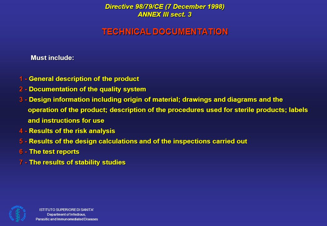 Directive 98/79/CE (7 December 1998) ANNEX III sect