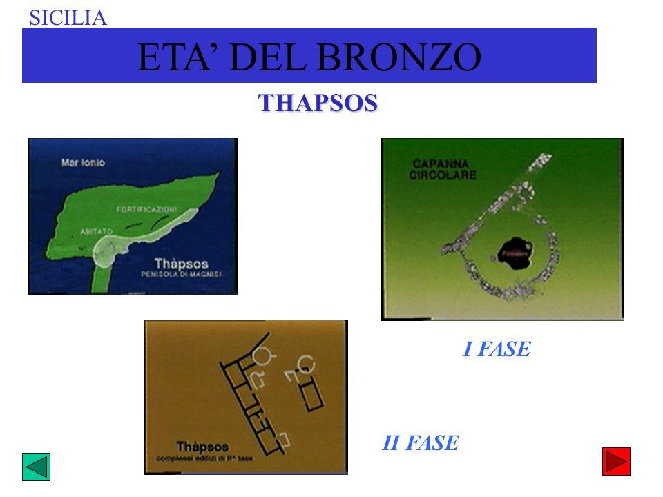 SICILIA ETA' DEL BRONZO THAPSOS I FASE II FASE