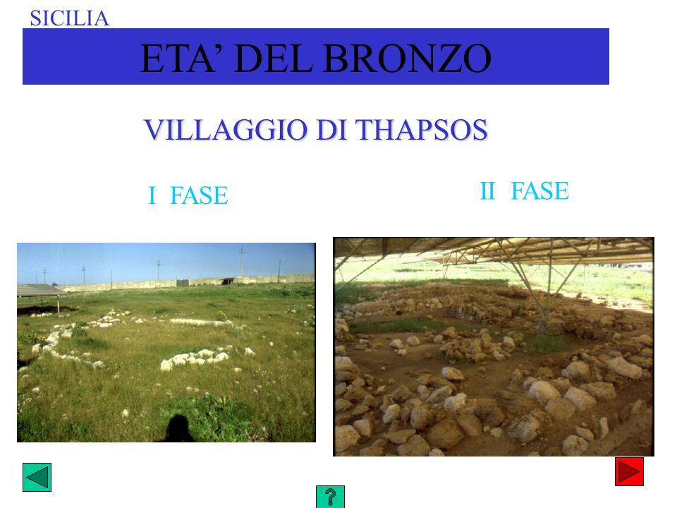 SICILIA ETA' DEL BRONZO VILLAGGIO DI THAPSOS II FASE I FASE