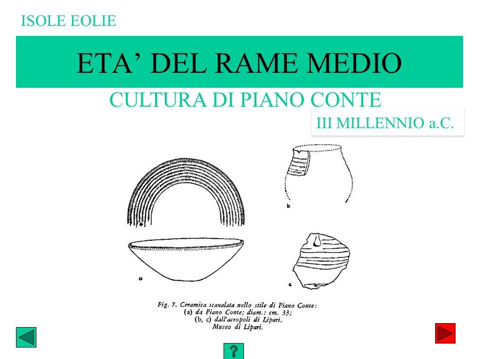 ETA' DEL RAME MEDIO CULTURA DI PIANO CONTE ISOLE EOLIE