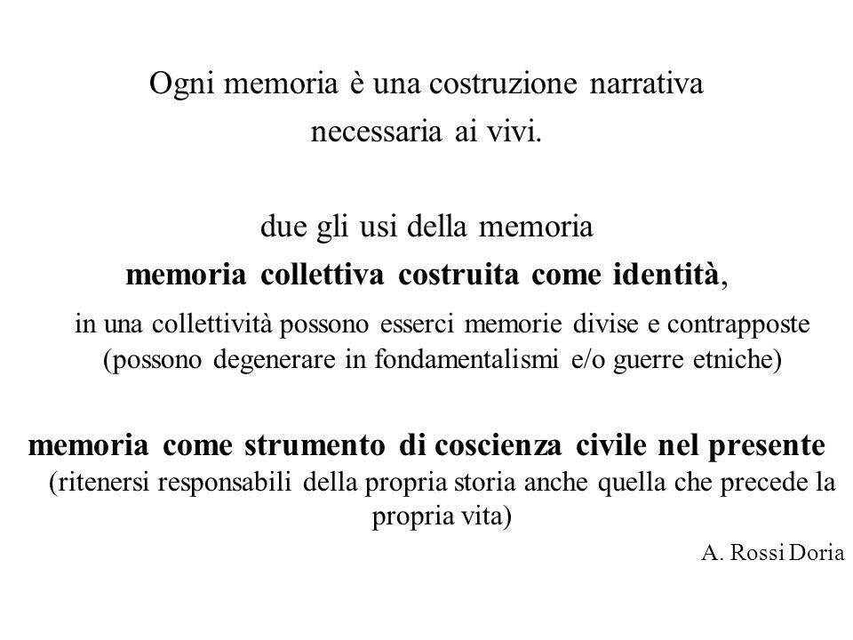 Ogni memoria è una costruzione narrativa necessaria ai vivi.