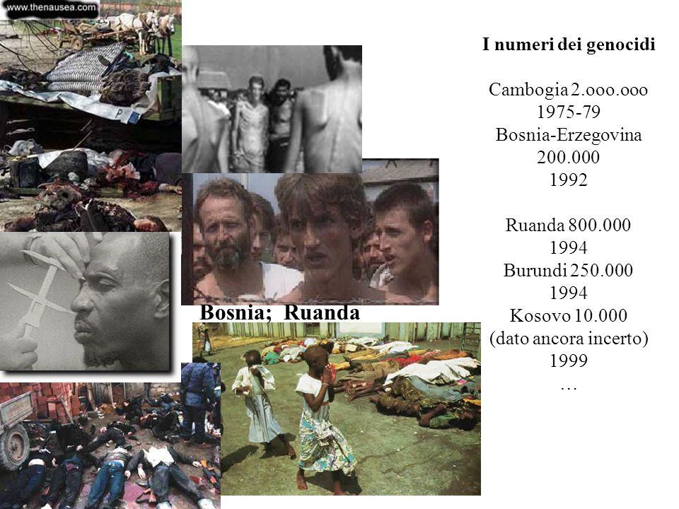 Bosnia; Ruanda I numeri dei genocidi Cambogia 2.ooo.ooo 1975-79