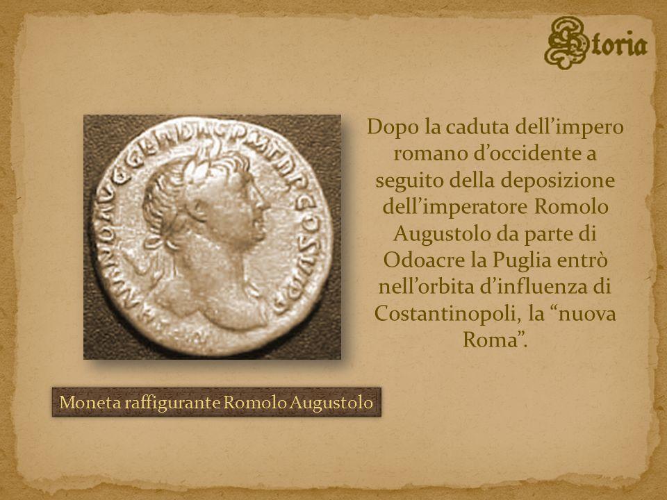 Dopo la caduta dell'impero romano d'occidente a seguito della deposizione dell'imperatore Romolo Augustolo da parte di Odoacre la Puglia entrò nell'orbita d'influenza di Costantinopoli, la nuova Roma .