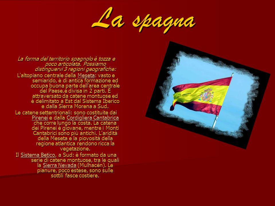 La spagna La forma del territorio spagnolo è tozza e poco articolata. Possiamo distinguervi 3 regioni geografiche: