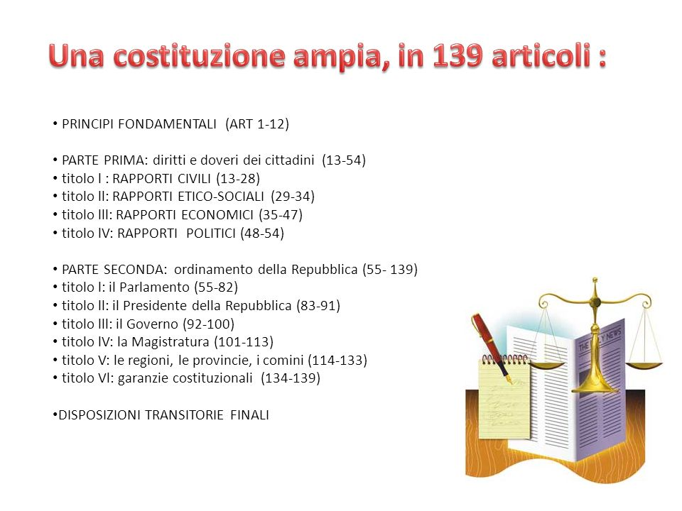 Una costituzione ampia, in 139 articoli :