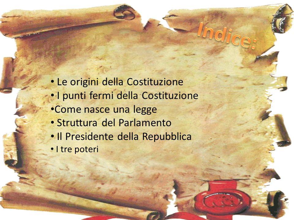 Indice: Le origini della Costituzione I punti fermi della Costituzione