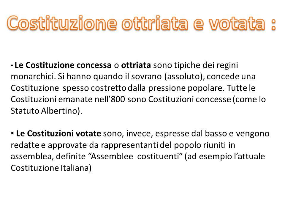 Costituzione ottriata e votata :