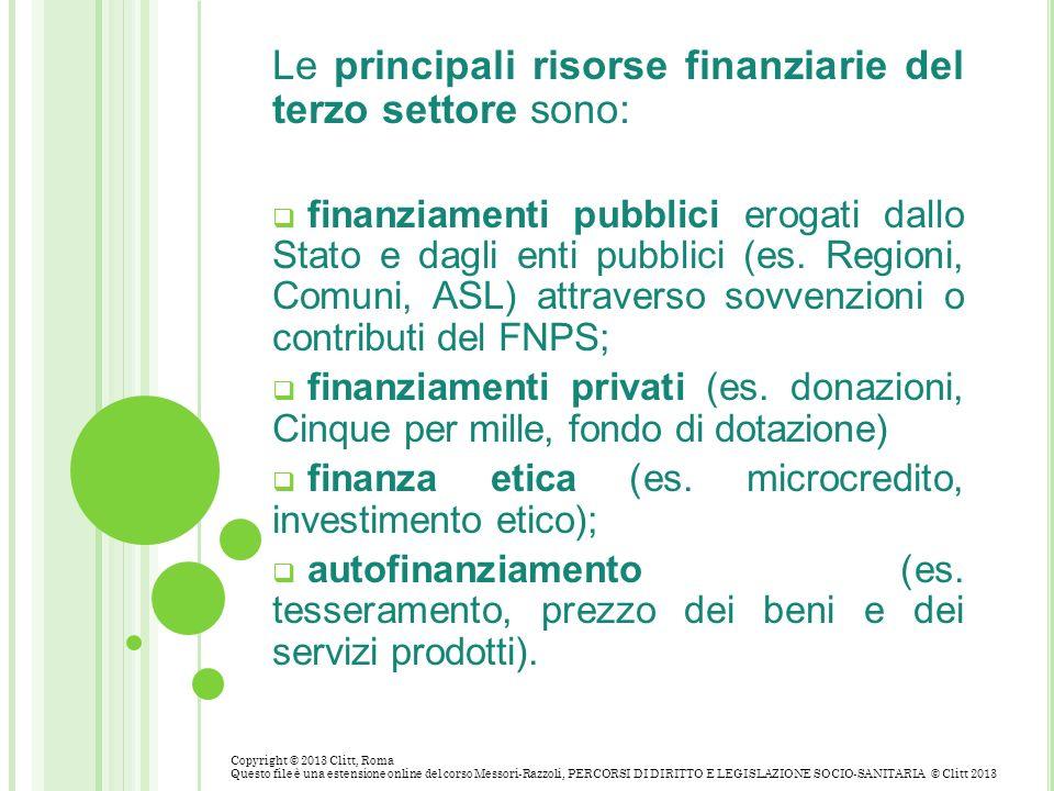 Le principali risorse finanziarie del terzo settore sono: