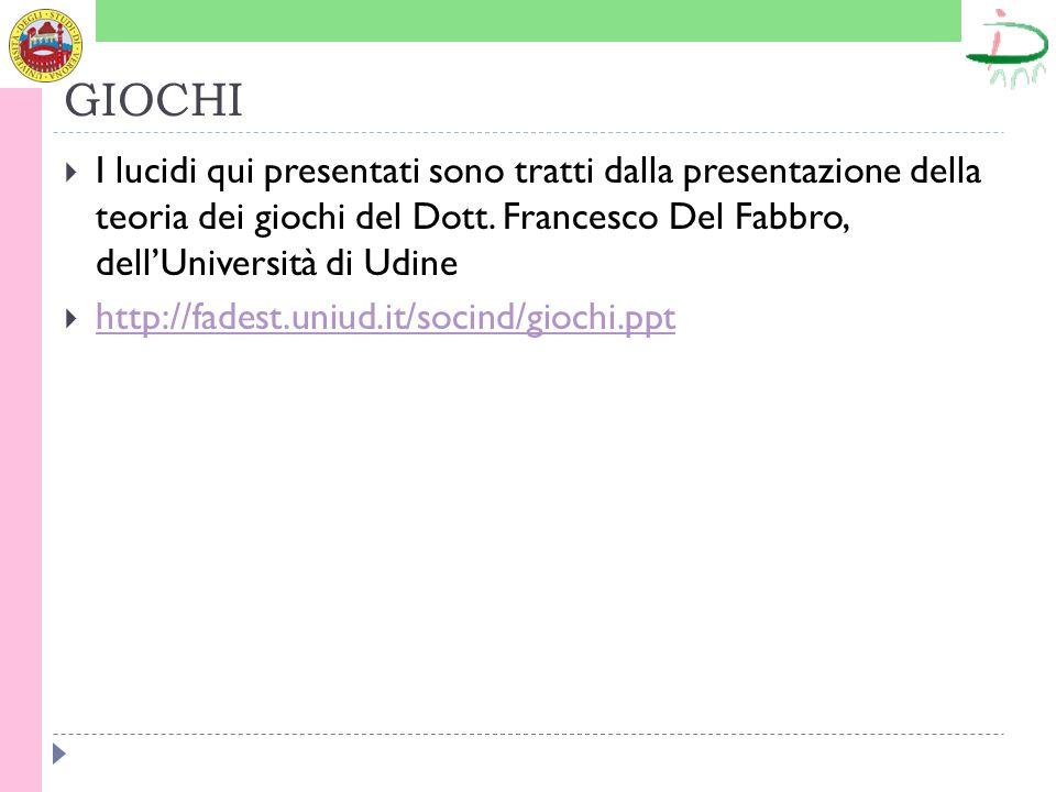 GIOCHI I lucidi qui presentati sono tratti dalla presentazione della teoria dei giochi del Dott. Francesco Del Fabbro, dell'Università di Udine.