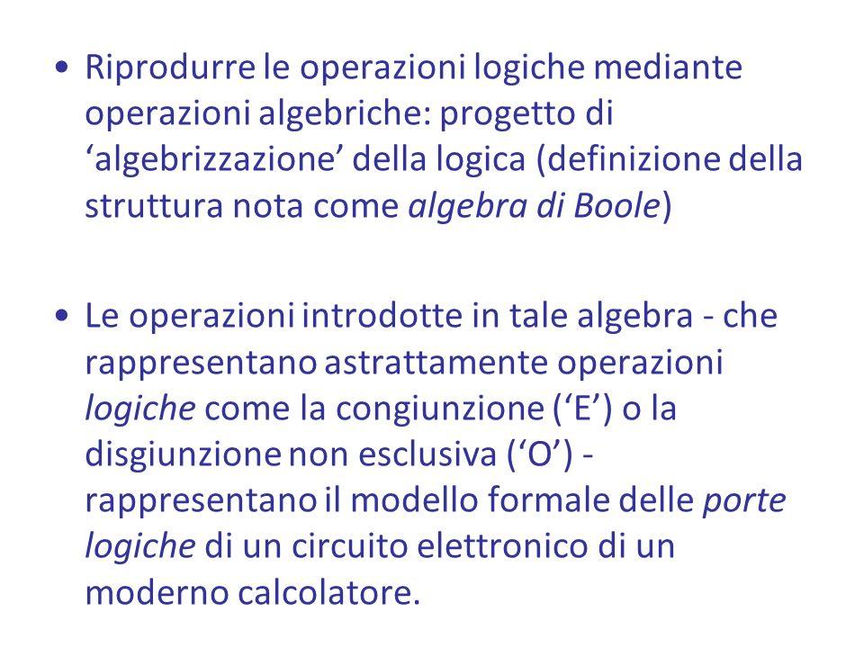 Riprodurre le operazioni logiche mediante operazioni algebriche: progetto di 'algebrizzazione' della logica (definizione della struttura nota come algebra di Boole)