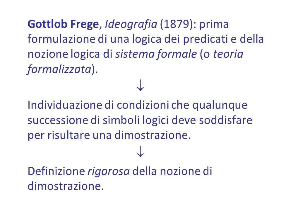 Gottlob Frege, Ideografia (1879): prima formulazione di una logica dei predicati e della nozione logica di sistema formale (o teoria formalizzata).