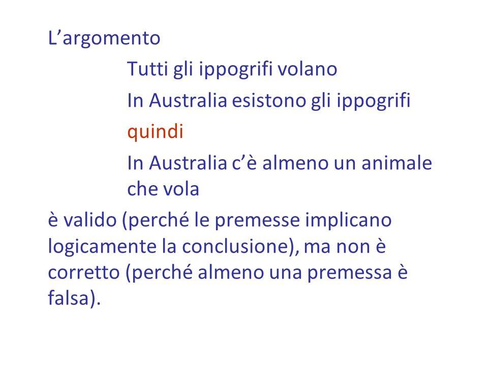 L'argomento Tutti gli ippogrifi volano. In Australia esistono gli ippogrifi. quindi. In Australia c'è almeno un animale che vola.
