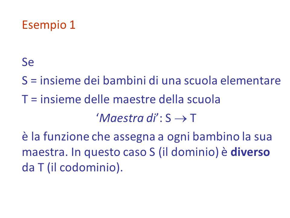 Esempio 1 Se. S = insieme dei bambini di una scuola elementare. T = insieme delle maestre della scuola.