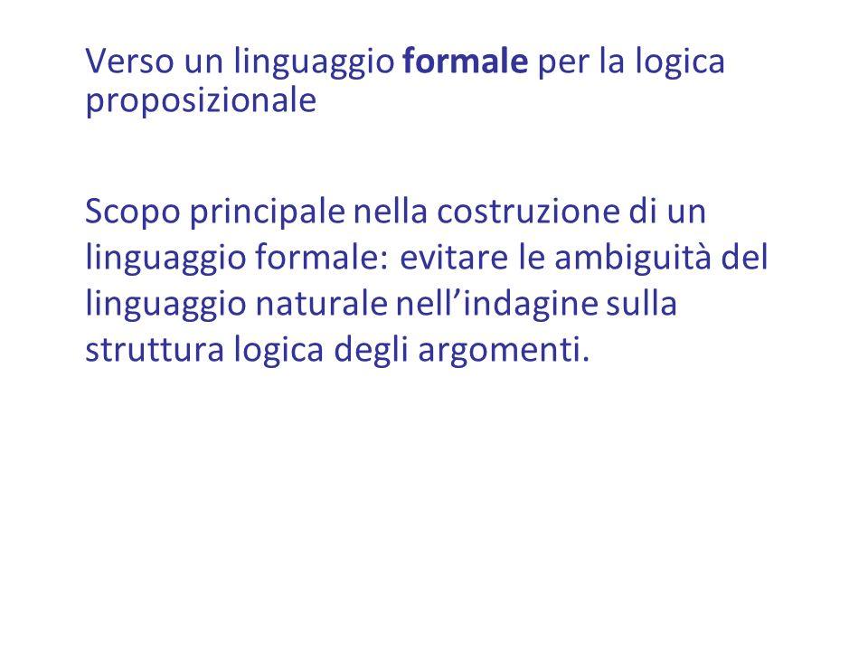 Verso un linguaggio formale per la logica proposizionale
