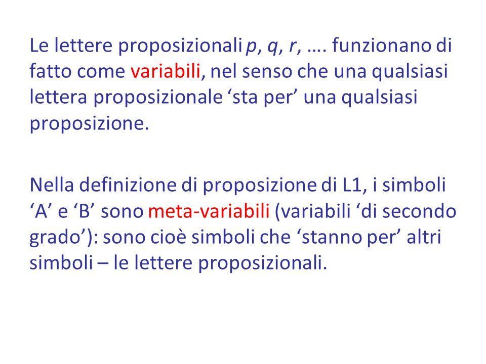 Le lettere proposizionali p, q, r, …