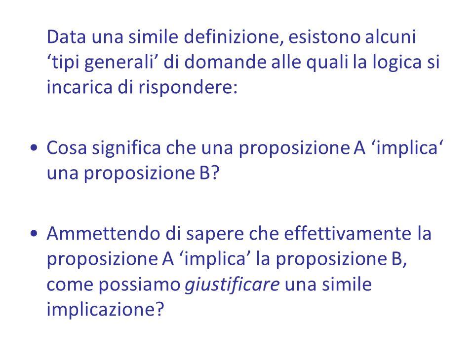 Data una simile definizione, esistono alcuni 'tipi generali' di domande alle quali la logica si incarica di rispondere: