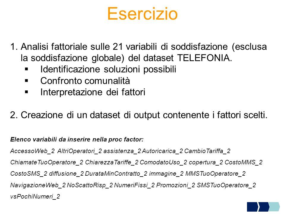 Esercizio Analisi fattoriale sulle 21 variabili di soddisfazione (esclusa la soddisfazione globale) del dataset TELEFONIA.