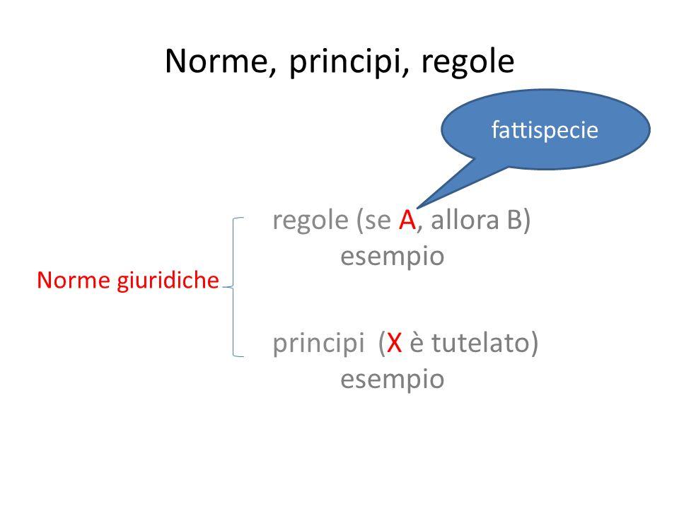 regole (se A, allora B) esempio principi (X è tutelato) esempio