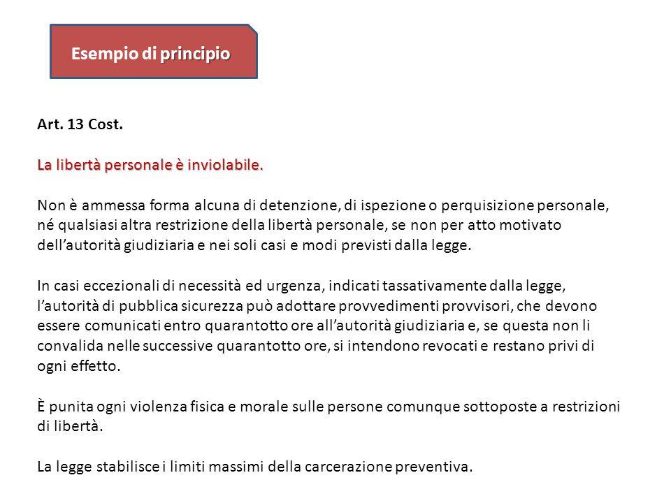 Esempio di principio Art. 13 Cost. La libertà personale è inviolabile.